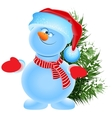 Funny snowman in the cap of Santa Claus and green vector image