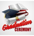 Graduation Ceremony Book hat and certificate vector image