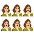 woman on six different face expressions set vector image