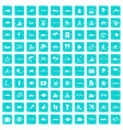 100 ocean icons set grunge blue vector image
