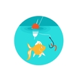 Gold fish on the hook vector image