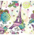 abstract floral seamless pattern with eiffel tower vector image