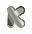 letter k steel font metal alphabet sign iron abc vector image