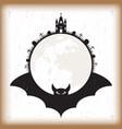 halloween bat and moon vintage paper vector image
