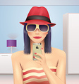 Girl taking self portrait in hat and sunglasses vector image