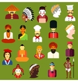 Multiethnic people flat avatars and icons vector image