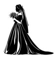 silhouette of a bride standing with a bouquet of vector image