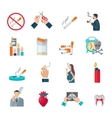 Smoking Flat Icons Set vector image
