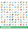 100 boat icons set isometric 3d style vector image
