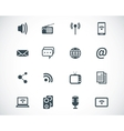 black media icons set vector image vector image