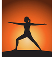 Woman in warrior pose vector image