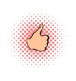 Thumb up icon comics style vector image vector image