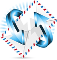 arrow around postal envelope vector image vector image