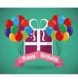 ed balloons decorative card happy birthday green vector image