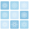 Linear snowflake icons set vector image