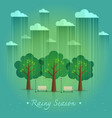 rainy season in park natural landscape in the flat vector image