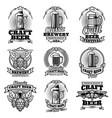 retro beer pub emblems vintage traditional vector image