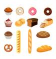set of bread food vector image