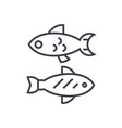 small fish line icon sign on vector image