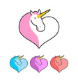 Unicorn icon flat style Magical beast with horn in vector image