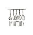Concept hand drawn logo for themed kitchen with vector image
