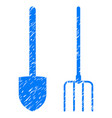 pitchfork and shovel tools icon grunge watermark vector image