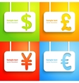Paper currency signs - dollar euro yen and pound vector image vector image