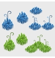 Items of floral decor blue and green tile grass vector image