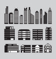 buildings and skyscrapers object silhouette set vector image