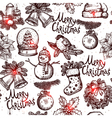 Christmas Monochrome Seamless Pattern vector image