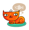 Red cat dreaming of a fish isolated on white vector image
