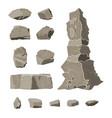 set of rock stone stones rocks in variuos sizes vector image