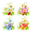 Summer banner set with flower and insect icons and vector image