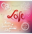 Valentines elements for greeting card vector image