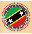 Vintage label cards of Saint Kitts and Nevis flag vector image
