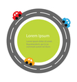 Round road and cartoon cars Flat design Green vector image
