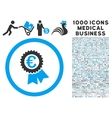 Euro Award Seal Icon with 1000 Medical Business vector image