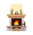Cozy flaming fireplace vector image