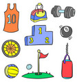 doodle sport equipment colorful style vector image
