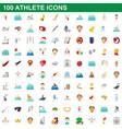 100 athlete icons set cartoon style vector image