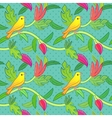 Nature seamless pattern with birds and leafs vector image
