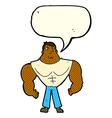 cartoon body builder with speech bubble vector image