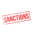 Sanctions red rubber stamp on white vector image