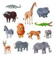 cartoon african animals set vector image