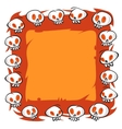Cartoon Skulls Square Frame on White Background vector image