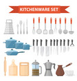 cookware set icons flat style kitchen utensils vector image