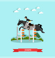 jumps over barrier in flat vector image