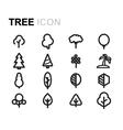 line tree icons set vector image