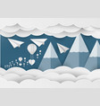 white paper heart shape and balloon in the sky vector image