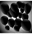 Black balloons on grey background vector image